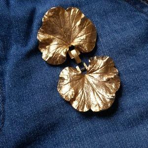 1980s Mimi Di Geranium Leaf Silver Belt Buckles